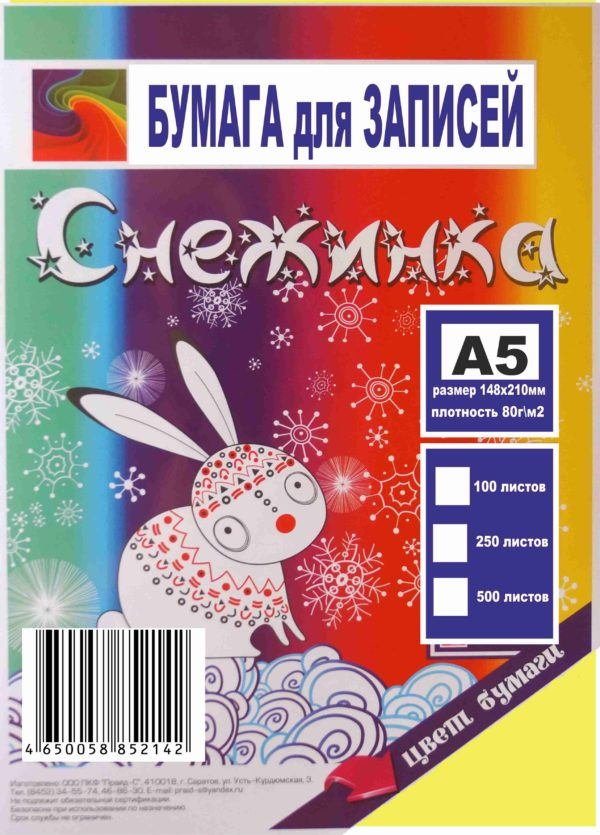 16.1 Бумага Снежинка для записей А5 цветная пастель (ассорти) 100 л